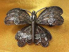 Vintage Antique Fine Sterling Silver Filigree Butterfly Brooch Pin