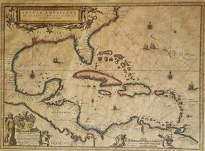 Antique. Map. Insvlae Americanae in Oceano Septentent. Map by D'Alberto Conradi.