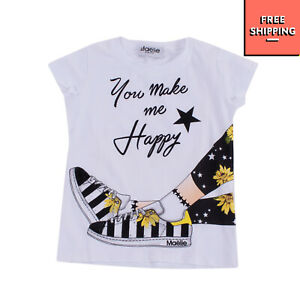 MAELIE DELUXE BRAND T-Shirt Top Size 4Y Rhinestones 'YOU MAKE ME HAPPY' Print