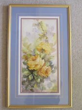 VINTAGE YELLOW ROSES LONG  FLOWERS WATER COLOR PAINTING FRAMED SIGNED MYSTERY