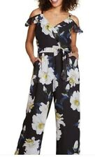 Clothing, Shoes & Accessories Yumi Big Flower Printed Cold Shoulder Jumpsuit Uk 16 Floral Rrp £55 #box 15