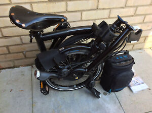 Electric Brompton H6L Black 6 Speed With Extras Folding Bike Worldwide Shipping