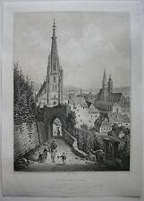 Esslingen Neckar mujeres iglesia ciudad vista ORIG litografía E. emminger 1860