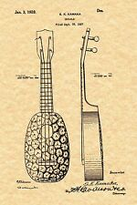 Patent Print - Vintage S. K. Kamaka Pineapple Ukulele 1928 - Ready To Be Framed!