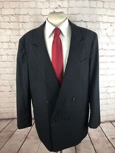 Custom Made Men's Big and Tall Black Suit Striped Wool Suit 50L 36X32 $315