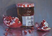 Fine Original Oil Painting - Pomegranate Fruit Still Life (Modern British Art)