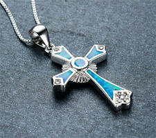 NEW Fashion Woman Cross 925 Silver Blue Fire Opal Charm Pendant Necklace Chain
