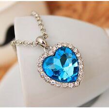 Titanic ocean crystal love heart pendant necklace chain fashion women jewelry