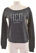 HOLLISTER Womens Sweatshirt Jumper Size 10 Small Blue Cotton Loose Fit  HE14