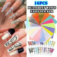 16Pcs 3D Nail Art Butterfly Wings Sticker Holographic Decal Self-Adhesive Decor