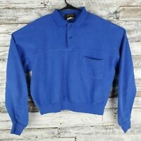 Vtg Eddie Bauer Mens Long Sleeve Polo Sweater Shirt Rugby Textured Blue Size Lg