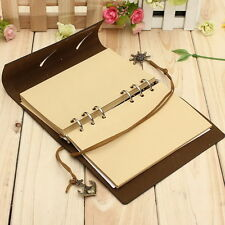 Dark Coffee Handy Bound PU Leather Cover Notebooks Journals Diary Book 6kq