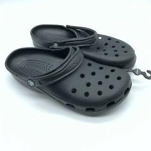 Crocs Unisex Clogs Slip On Basic Black Rubber Mens Size 8 Womens Size 10