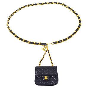 CHANEL Classic Flap Micro Bum Belt Bag Purse Gold Chain Navy Lambskin 72875