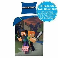 MINECRAFT COTTON UK SINGLE/US TWIN DOUBLE SIDED SHEET & PILLOWCASE EUROPEAN SIZE
