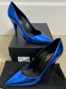NIB Saint Laurent Kiki 100 Blue Mirrored Leather Pointed Toe Pumps Sz 38 8 $795