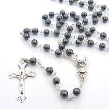Chrétien rond noir hématite chapelet de perles métal argent 6mm Catholique