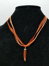 Necklace with Orange Cats Eye Horn Pendant     Z10