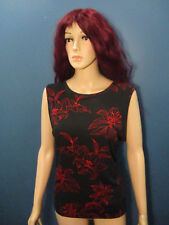 XL (16 - 18) black and red floral outline print blouse by GEORGE