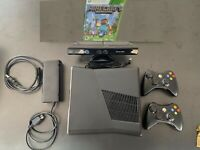 Microsoft Xbox 360 S (250 GB) Bundle with 2 CONTROLLERS Kinect & Minecraft