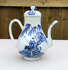 Stunning Large Chinese Blue and White Figurative Coffee Pot Tea Pot and Lid