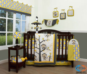 13PCS Monkey Go Happy Baby Nursery Crib Bedding Sets  Holiday Special