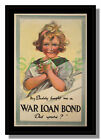 Australia War Loan Bond young girl framed repro poster from WW1 free p&p UK
