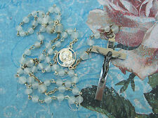 Vintage Catholic Rosary Opaque 5mm Glass Beads Nice Crucifix & center medal