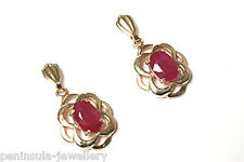 9ct Gold Ruby Celtic Drop Earrings Gift Boxed Made in UK