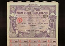 FRANCE FRENCH RAILROAD  CdF Chemin de Fer  Voies Ferrees du Dauphine Lyon 1906