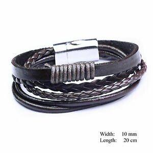 Bracelet Bangle Stainless Steel Men's Brown Braided Leather Wrist Band Cuff 20cm