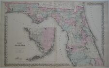 Original 1868 Colton Map FLORIDA Railroads Everglades Miami Tallahassee Tampa