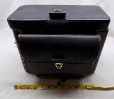 HOMA Heavy Black Leather Camera Case Vintage Brass Locks Multi Strap pocket 12x8