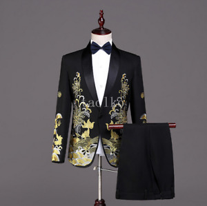2Pcs Suits Jacket Pants Tuxedos Wedding One Button Florals Embroidery Party Mens