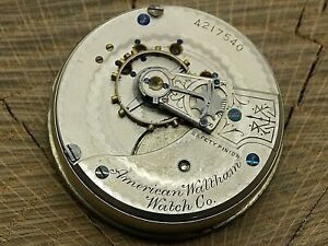 Antique Pocket Watch Movement Waltham Grade 15 18s 15j Hunting Frosted Nice Dial