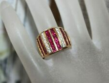 SUPERB Gold Rhodium on Sterling 925 Ruby & White Quartz Band Ring 8.5