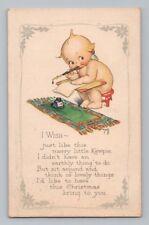 Vintage ROSE O'NEILL / KEWPIE DOLL Postcard CHRISTMAS CARD KEWPIES & INKWELL