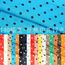 Silk cotton Blue Black / Brown Black Etc Polka Dot Spotted Fabric By The Meter