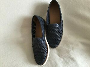 Ladies Shoes Size 6 Navy Leather Woven Slip on Loafer Style by Next