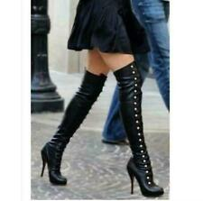 Ladies Stiletto Rivets High Heel Sexy Over Knee High Thigh Boots Punk Long Shoes