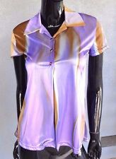 Vintage 90's Women's Shirt Retro Purple Psychedelic Rave Swirl Shiny Button XS S