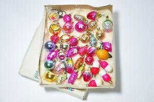 38pcs Vintage antique glass figural christmas ornaments, USSR ornaments in box