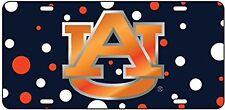AU Auburn Tigers Laser Cut Orange AU logo Polka Dot  License Plate / Car Tag