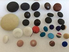 Lot of 30 Antique & Vintage Cloth Covered Buttons Fabric mix color size
