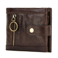 Men Wallet Genuine Leather Pocket RFID BLOCKING Credit Card Holder Bifold Purse