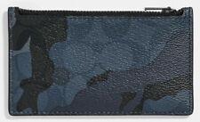 COACH Camo Print Men's Signature Coated Canvas Leather Zip Card Case Blu/Blk NWT
