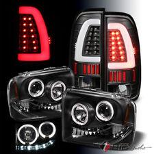 For 05-07 F250/F350 Black Halo Projector Headlights + Light-Bar LED Tail Lights