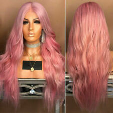 Ladies Fashion Long Curly Wavy Full Wig Ombre Pink Women Natural Synthetic Hair