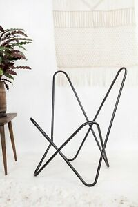 Vintage Butterfly Chair Arm Relax Chair Black Full Folding Iron Stand Only Frame