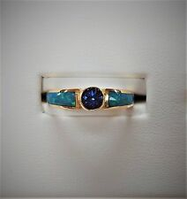 Kabana 14K Yellow Gold Ring w/ Genuine Australian Opal and 4.5 mm Tanzanite